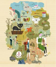 Nice marriage of lettering and illustration. Like all of the best maps, it simplifies to focus on what's important.