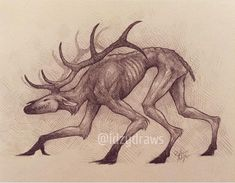 For some reason, in my head, the monsters that cannabilistic humans morph into (aka Wendigos) are just kinda emaciated, carnivorous, creep-… Creepy Drawings, Dark Art Drawings, Drawing Art, Monster Drawing, Monster Art, Arte Horror, Horror Art, Creature Drawings, Animal Drawings