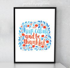 Items similar to Keep Calm And Be Thankful - Various Dimensions - ART PRINT ; Hand Painted on Etsy Watercolors, Watercolor Paintings, Watercolor Illustration, Keep Calm, Card Stock, Panda, Thankful, Hand Painted, Messages