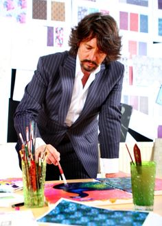 Laurence Llewelyn-Bowen painting in his Cirencester studio
