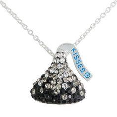 "Hershey's Kiss Black Ombre Crystal Silvertone Pendant, 18"""
