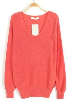 Pink Plain Pockets V-neck Loose Knit Sweater