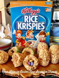 Super fun + easy! Easter egg Rice Krispie Treats w/ a hidden surprise!