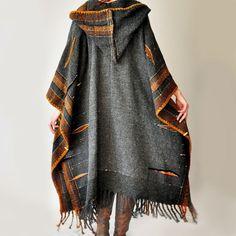 Massanfertigung Dark Gray handgewebte Poncho von subrosa123