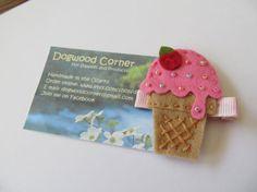 Felt Melting Ice Cream Cone Hair Clip Alligator by Dogwoodcorner, $3.50