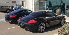 Porsche Cayman 987 side by side with a new 981 model