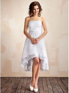 A-Line/Princess Strapless Asymmetrical Satin Lace Wedding Dress