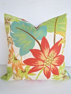 DECORATIVE Throw Pillows 18x18 ORANGE Throw Pillow 18 x 18 Pillow Covers Coral Tropical Indoor Outdoor Home and Living. $19.95, via Etsy. - living rm