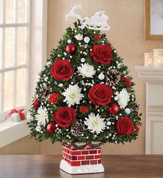 Shop Christmas flowers & gifts for delivery to celebrate the season! Find beautiful Christmas floral arrangements and holiday flowers. Small Christmas Trees, Christmas Flowers, Christmas Wreaths, Christmas Decorations, Xmas Trees, Christmas Centerpieces, Christmas Colors, Christmas Stockings, Table Decorations