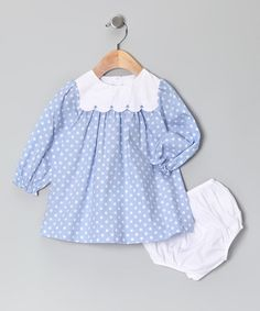 Take a look at this Blue Polka Dot Dress & Diaper Cover - Infant by Les Petits Soleils on #zulily today!