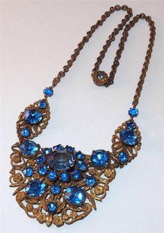 Z ANTIQUE ART NOUVEAU DECO COBALT BLUE GLASS STAMPED GOLDTONE FLOWERS NECKLACE