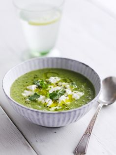 BROCCOLI Soup (Jamie Oliver) --- - 1 clove garlic ; 2 sticks celery ; 400g broccoli ; ½ bunch fresh mint ; olive oil ; 1 ltr chicken or veg stock ; ricotta cheese -- - Peel & finely chop garlic. Trim & roughly chop the celery & broccoli. Pick mint leaves, finely chop most of them, saving a few baby leaves to garnish. Heat splash of oil in a pan & soften garlic & celery for 2 to 3 mins, then add broccoli & stock. Cook for 5 more minutes, then blitz with a handful of mint in a food processor.