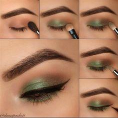 Olive green/brown eye makeup Olivgrün / braunes Augen Make-up Green Eyeshadow Look, Eyeshadow Makeup, Cat Eye Eyeliner, Makeup Looks For Brown Eyes, Makeup For Green Eyes, Green Brown Eyes, Makeup Storage Bag, Makeup Organization, Eye Makeup Steps