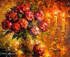 Roses And Candles by Leonid Afremov by https://www.deviantart.com/leonidafremov on @DeviantArt