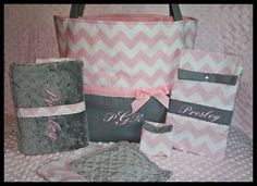 monogrammed diaper bags for girls | Monogrammed Personalized Girl Pink Chevron Diaper Bag Pad Wipe Case ...