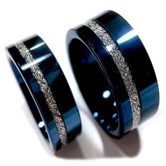 Ringe Wedding bands, Blue Meteorite Inlay Rings, His and Her Engagement Ring, Blue Tungsten Ring, Me Mens Wedding Bands Blue, Diamond Wedding Bands, Ruby Wedding Rings, Matching Wedding Bands, Matching Couples, Wedding Jewelry, Tungsten Mens Rings, Tungsten Wedding Bands, Meteorite Wedding Band
