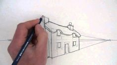 How to Draw a Cottage House in Two-Point Perspective - YouTube