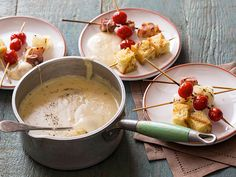 Aged Cheddar Fondue with Grilled Tomatoes, Bacon and Onions by Amy Theiland from Food Network