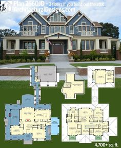 Find my dream house! Get over square feet of living and up to 3 floors if you build out the attic with Architectural Designs Luxury House Plan Over 50 photos online. Where do YOU want to build? Luxury House Plans, Dream House Plans, House Floor Plans, My Dream Home, 4000 Sq Ft House Plans, Luxury Floor Plans, Dream Houses, Mansion Floor Plans, Luxury Houses