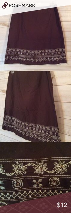 "VILLAGER LIZ CLAIBORNE Brown Embellished Skirt Villager Liz Claiborne Brown Embellished Skirt as pictured.  Size is 10, 20"" Length, 32"" Waist.  Pristine condition! (28) Liz Claiborne Skirts Midi"