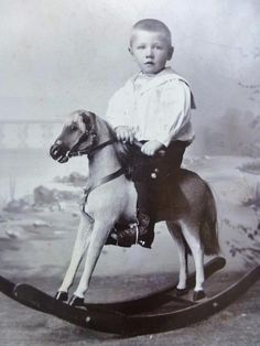 Antique CABINET CARD Photo c1890s Sweet Little Boy Child on Rocking Horse Toy