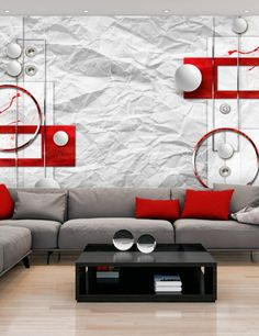 Carta Da Parati Grigia E Rossa.47 Fantastiche Immagini Su Vari Arredamento Interior Design Per