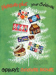 Christmas themed Cadbury's Chocolate Biscuits advertisement, 1959