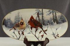 Christmas Cardinals - Lenox China  sandwich platter / tray - (birds, winter)