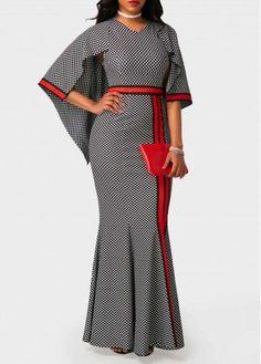 Printed High Waist V Neck Mermaid Dress | Rotita.com - USD $33.08