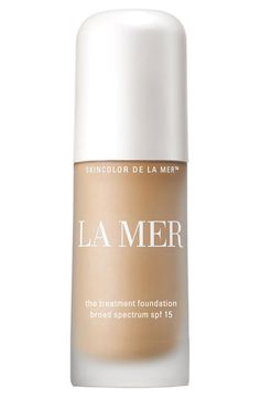 La Mer 'The Treatment Foundation' Broad Spectrum SPF 15.  Details:      This silken, lightweight fluid provides flexible medium coverage, a luminous and flawless finish, as well as long-lasting benefits. The exclusive Blue Algae Lift Ferment immediately adds radiance while working to improve firmness, clarity and brightness. 1 oz=335.00 aed