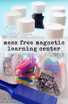 this Mess Free Magnetic Learning Center for some fun and easy STEM learning play.Make this Mess Free Magnetic Learning Center for some fun and easy STEM learning play. Science Center Preschool, Science For Toddlers, Science Classroom, Teaching Science, Science For Kids, Preschool Learning Centers, Science For Preschoolers, Kindergarten Stem, Science Writing