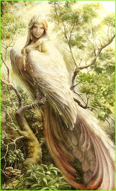 Gamayun is a Russian prophetic bird with the head of a woman. They are very wise and just.