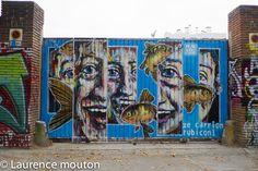 Barcelona, street art, Tags, poissons, visages