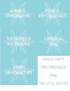 Free Frozen Party Food Labels