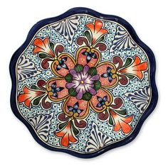 Handmade Mexican Talavera Ceramic Platter Serveware - Wilderness | NOVICA