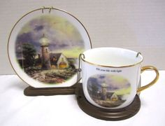 Thomas Kinkade Lighthouse A Light In The Storm Cup & Suacer w/ Stand 2003 Faith
