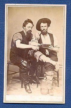 "Cdv Carte Devisite Of Two Men Sharing A Bottle Of Plantation Bitters ""unusual"""