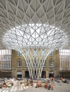 Image 13 of 21 from gallery of In Progress: King's Cross Station / John McAslan + Partners. rendering Courtesy of John McAslan + Partners Dome Structure, Building Structure, Steel Structure, Parametric Architecture, Parametric Design, Landscape Architecture, Pavillion, Space Frame, Aalborg