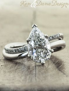 Jewelry Diamond : Pear shape engagement ring by Ken & Dana Design. - Buy Me Diamond Pear Wedding Ring, Unusual Wedding Rings, Wedding Rings For Women, Wedding Band, Party Wedding, Wedding Tips, Luxury Wedding, Wedding Engagement, Pear Diamond