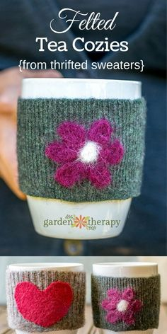 No Sew Felted Mug Cozies Upcycle thrift store wool sweaters into felt for this simple no sew project. Felted cozies make perfect gifts for all the warm beverage lovers in your life. The post No Sew Felted Mug Cozies appeared first on Wool Diy. Upcycled Crafts, Handmade Crafts, Handmade Felt, Upcycled Clothing, Repurposed, Easy Felt Crafts, Felt Diy, Fun Crafts, Creative Crafts