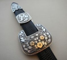 1 ''  Sterling silver belt buckle with 14 k flowers