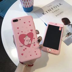 Cartoon Moomin 360° Hard Pink Case Cover+Tempered Glass For Iphone 6 6S 7 7Plus