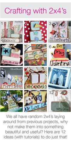 Crafting with 2x4's! 12 ideas (with tutorials)! #2x4crafts #howdoesshe . Would make a great little craft night projects