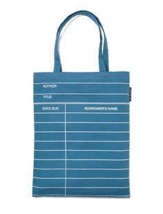 d60b9dda4d91 Library Card  Blue tote bag - by Out of Print Library Card