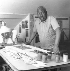 Jacob Lawrence in his studio.