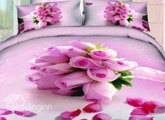 New Arrival Beautiful Light Purple Roses Bouquet Print 4 Piece Bedding Sets #4pcsbeddingset #3Dbeddingset  @beddingtons bed & bath inn
