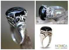 Sterling Silver 'Night Shadow' Onyx Cocktail Ring (Indonesia) - Overstock Shopping - Great Deals on Novica Rings