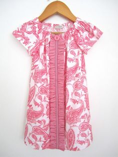 Toddler Girls Paisley Spring Dress white and pink  by ChasingMini