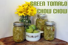 Green Tomato Chow Chow ~ * THE COUNTRY CHIC COTTAGE (DIY, Home Decor, Crafts, Farmhouse) #bhgsummer