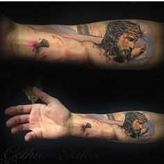 OMG this tattoo is perfect #resurrection #deception #savehim #worship #jesustattoo #blessed #hedied